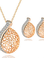 Luxury Hollow-out Teardrop-shaped Pendant  Rhinestones Necklace + Earrings Jewelry Sets