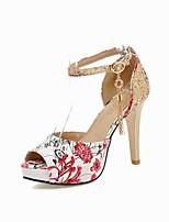 Women's Shoes PU Spring / Summer Heels / Peep Toe Sandals Outdoor / Dress Stiletto Heel Rhinestone Black / Blue