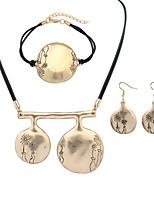 European Style Fashion Simple Metal Circular Flower Necklace Bracelet Earring Set
