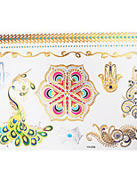 1pc Colorful Metallic Waterproof Tattoo Hexagonal Flower Peacock Temporary Tattoo Sticker YH-058