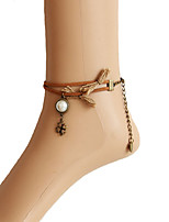 Fashion Four Leaf Clover Pearl Velvet Strip Anklet
