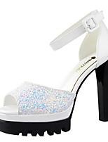 Women's Shoes Glitter Summer Heels / Peep Toe Heels Dress Chunky Heel Buckle Black / Pink / White / Silver / Gold