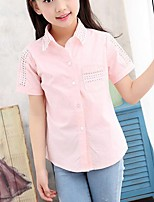 Girl's Casual/Daily Solid Blouse,Cotton Summer Pink / White