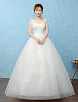 Ball Gown Wedding Dress Floor-length Scoop Lace / Tulle / Sequined with Lace / Sequin