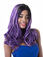 European Vogue Medium Sythetic Black Mix Purple U Party Party Wig For Women