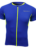 Cycling Jersey Short Sleeve 100% Polyester Breathable Men Blue