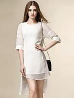 Engel Frauen geht aus Street-Chic Chiffon-Kleid, fest um den Hals asymmetrische ½ Länge Hülse Rayon Sommer