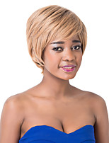 European Elegant Short Sythetic Light Brown Straight Side bangParty Wig For Women