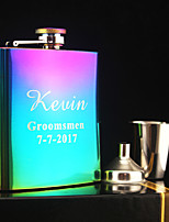 Personalized 3-pieces Stainless Steel Hip Flasks 6-oz  Color plating Flask Gift Set