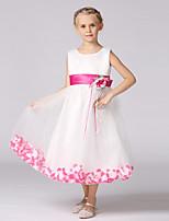 A-line Tea-length Flower Girl Dress - Satin / Tulle Sleeveless Jewel with