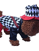 Cat / Dog Costume /Jumpsuit Red / Black / White Winter / Spring/Fall Geometic Cosplay / Halloween, Dog Clothes