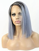 New Style Ombre Grey Human Hair Short Cut Bob Style Lace Wig 12Inch 150% Density