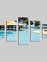 JAMMORY Canvas Set Landscape Modern,Five Panels Gallery Wrapped, Ready To Hang Vertical Print No Frame Ocean Views