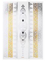 1pc Flash Metallic Waterproof Tattoo Gold Silver Body Art Chain Temporary Tattoo Sticker YH-022