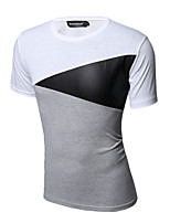 Men's Patchwork Casual / Sport T-Shirt,Cotton Short Sleeve-White / Gray