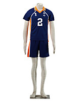 Inspired by Haikyuu Sugawara Koushi Anime Cosplay Costumes Cosplay Suits Color Block Blue / Orange Short Sleeve T-shirt / Shorts