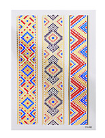 1pc Flash Metallic Tattoo Gold Waterproof Colorful Pattern Bracelet Temporary Tattoo Sticker YH-090