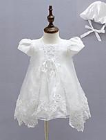 3pcs Baby Girl's White Dress, Bow Polyester All Seasons