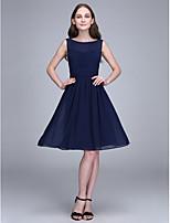 Lanting Bride® Diz Boyu Şifon Nedime Elbisesi A-Şekilli Taşlı Yaka ile Dantelalar