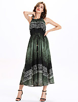 Women's Casual/Daily Simple A Line / Chiffon Dress,Print Stand Maxi Sleeveless Green Polyester / Others All Seasons