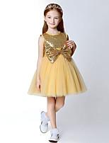 A-line Knee-length Flower Girl Dress-Tulle / Sequined Sleeveless