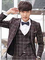 Suits Slim Fit Notch Single Breasted One-button Polyester Checkered / Gingham 3 Pieces