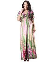Women's Holiday / Plus Size Boho Swing Dress,Print Deep V Maxi Short Sleeve Green Polyester Summer