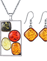 Rectangular Beeswax Drop Count Multi-colored  Gem Necklace Earrings Jewelry Sets