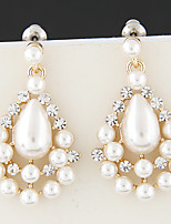 Earring Round Drop Earrings Jewelry Women Fashion / Adorable Party / Daily / Casual Pearl / Alloy / Rhinestone 1 pair Gold / White