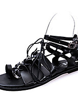 Women's Sandals Summer Open Toe PU Casual Flat Heel Others Black / White