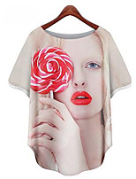 Women's Casual/Daily Street chic Summer Blouse,Print Round Neck Short Sleeve White Polyester Medium