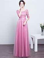 Floor-length Lace / Satin Bridesmaid Dress Sheath / Column Scoop with Lace / Sash / Ribbon