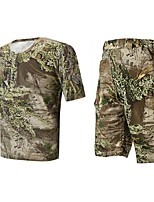 Men Outdoor Spoorts Tshirt Camouflage Hunting Wader Fishing Suits Summer Camo Hunting Clothing Suit=Tshirt+Short Pant