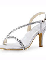 Women's Shoes Stretch Satin Summer Heels Sandals Wedding / Party & Evening / Dress Stiletto Heel Crystal Silver