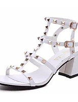 Women's Sandals Summer Sandals PU Casual Chunky Heel Buckle Black / White / Silver Others