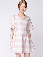 TAMMY TANGS   Women's Street chic Striped A   Dress,V Neck Above Knee Polyester