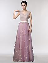 Formal Evening Dress A-line V-neck Floor-length Lace / Tulle with Embroidery
