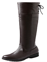Women's Shoes PU Winter Combat Boots Boots Casual Low Heel Lace-up Black / Brown / White