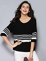 SYBEL Women's Going out / Casual/Daily,Striped White / Black Round Neck Long Sleeve Rayon Spring / Fall Medium