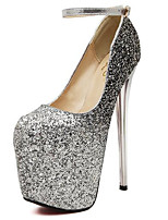 Women's Shoes Stiletto Heel Round Toe Heels Dress Silver / Gold