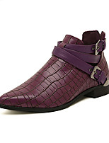 Women's Shoes PU Spring / Fall / Winter Pointed Toe Boots Outdoor / Casual Low Heel Buckle Black / Purple