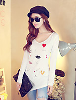 Pink Doll® Women's Hot Drilling Embroidered Round Neck Long Sleeve T Shirt White-X14CTS096