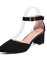 Women's Heels Summer Heels Fleece Casual Chunky Heel Buckle Black / Gray / Fuchsia Others