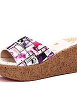 Women's Sandals Summer Comfort PU Outdoor Wedge Heel Buckle Red / Gray
