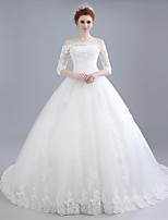 Ball Gown Wedding Dress Chapel Train Off-the-shoulder Lace / Satin / Tulle with Lace