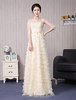 Formal Evening Dress A-line Scoop Floor-length Lace with Appliques