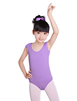 Ballet Leotards Children's Fashion Training Cotton Pleated Short Sleeve Natural Leotard Leotard Kid's Dance Costumes