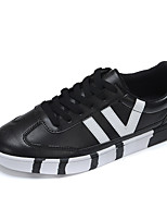 Men's Shoes PU Casual Walking Flat Heel Lace-up Black / Red / White EU39-43