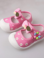 Girl's Flats Spring / Summer / Fall First Walkers Cotton Dress / Casual Buckle Blue / Pink / Red