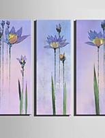 lienzo conjunto Floral/Botánico Estilo europeo,Tres Paneles Lienzos Vertical lámina Decoración de pared For Decoración hogareña